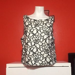 EXPRESS Floral White And Black Crop Top Size Large